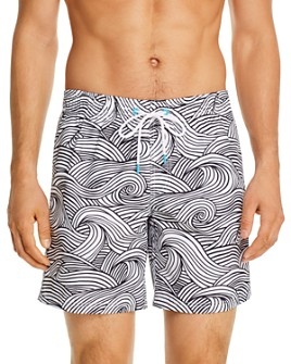 SUNDEK - Wave-Print Swim Trunks