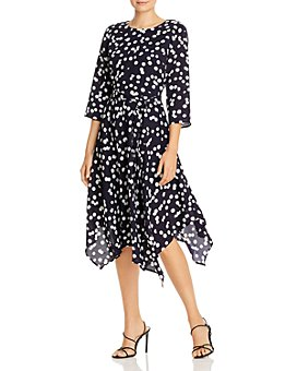 T Tahari - Polka Dot Handkerchief-Hem Midi Dress