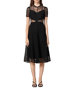 Sandro Dresses LANNY GUIPURE LACE MIDI DRESS