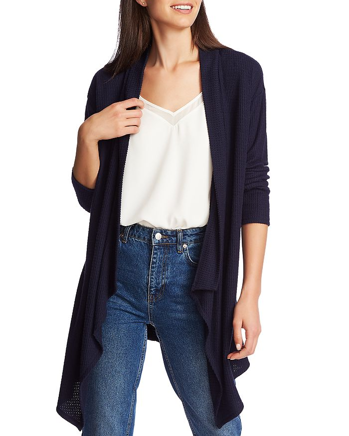 1.STATE - Brushed Drape-Front Open Cardigan