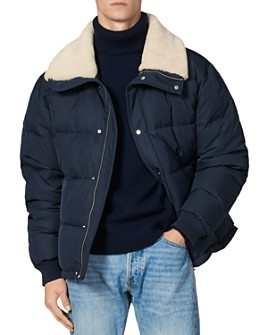 Sandro - Shearling-Collar Down Puffer Jacket