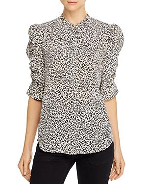 Frame Puff-Sleeve Leopard Print Silk Blouse-Women