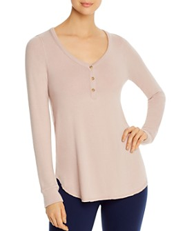 Three Dots - Long-Sleeve Brushed Henley Top