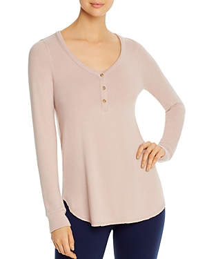 Three Dots Long-Sleeve Brushed Henley Top-Women