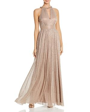 Eliza J Metallic Pleated Gown