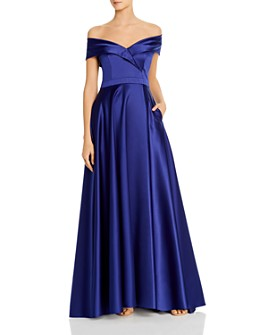 Avery G - Satin Off-the-Shoulder Gown - 100% Exclusive