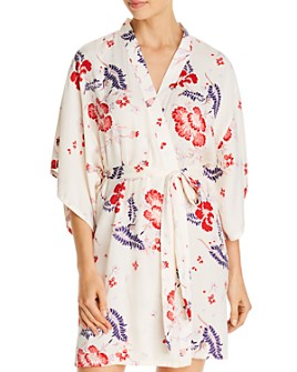 Josie - Felicity Floral Satin Wrap Robe