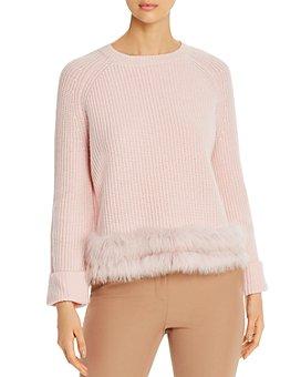 Max & Moi - Fire Fox-Fur-Trimmed Merino-Wool & Cashmere Sweater