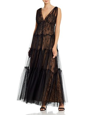 BCBGMAXAZRIA - Tulle-Overlay Lace Gown