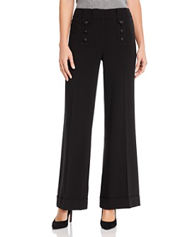 KARL LAGERFELD PARIS - Wide-Leg Button Detail Pants