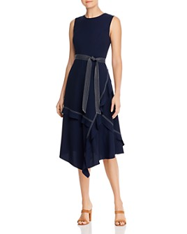 Calvin Klein - Ruffled Contrast-Stitched Midi Dress