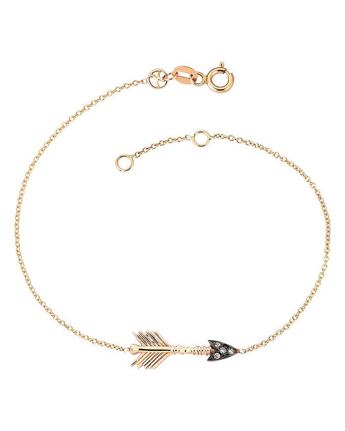 Kismet By Milka - 14K Rose Gold Champagne Diamond Arrow Bracelet