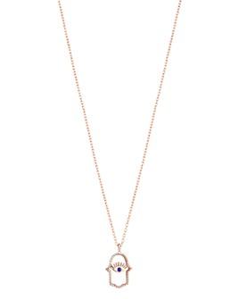 "Kismet By Milka - 14K Rose Gold Blue Sapphire Hamsa Pendant Necklace, 18"""