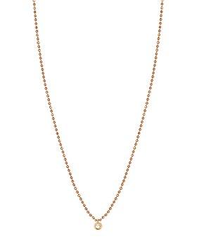 "Kismet By Milka - 14K Rose Gold Diamond Bead Necklace, 18"""