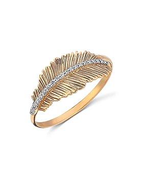 Kismet By Milka - 14K Rose Gold Diamond Feather Ring