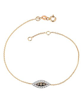 Kismet By Milka - 14K Rose Gold White & Champagne Diamond Eye Haven Bracelet