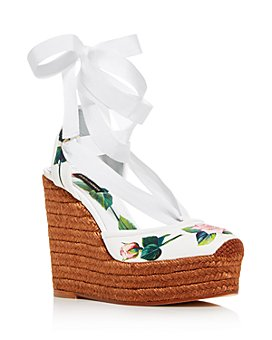 Dolce & Gabbana - Women's 100 Floral Espadrille Ankle-Tie Wedge Sandals