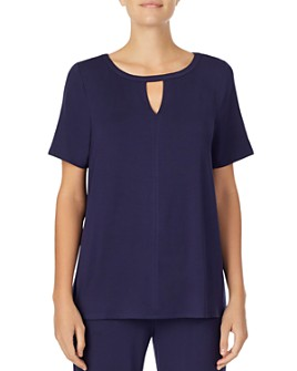Donna Karan - Short Sleeve Keyhole Top