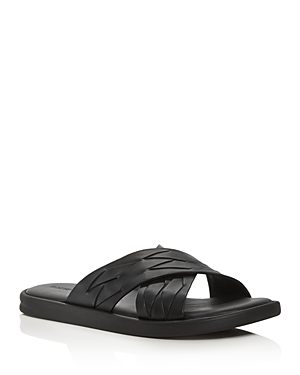 Bottega Veneta Men's Thin Weave Leather Cross Strap Sandals