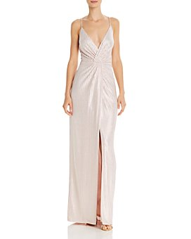 Aidan by Aidan Mattox - Metallic Faux-Wrap Gown