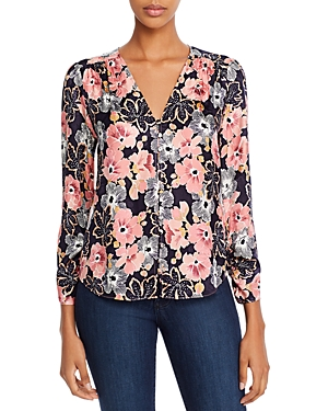 Rebecca Taylor JARDIN FLORAL BUTTON-FRONT TOP