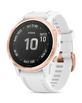 Garmin - Fenix 6S Rose Gold-Tone White Rubber Strap Smartwatch, 42mm