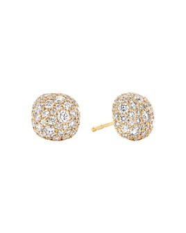 David Yurman - 18K Yellow Gold Small Cushion Stud Earrings with Diamonds