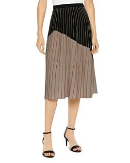 Misook - Color-Blocked Pleated Knit Midi Skirt