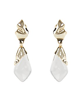 Alexis Bittar - Crumpled Metal Lucite-Detail Clip-On Earrings
