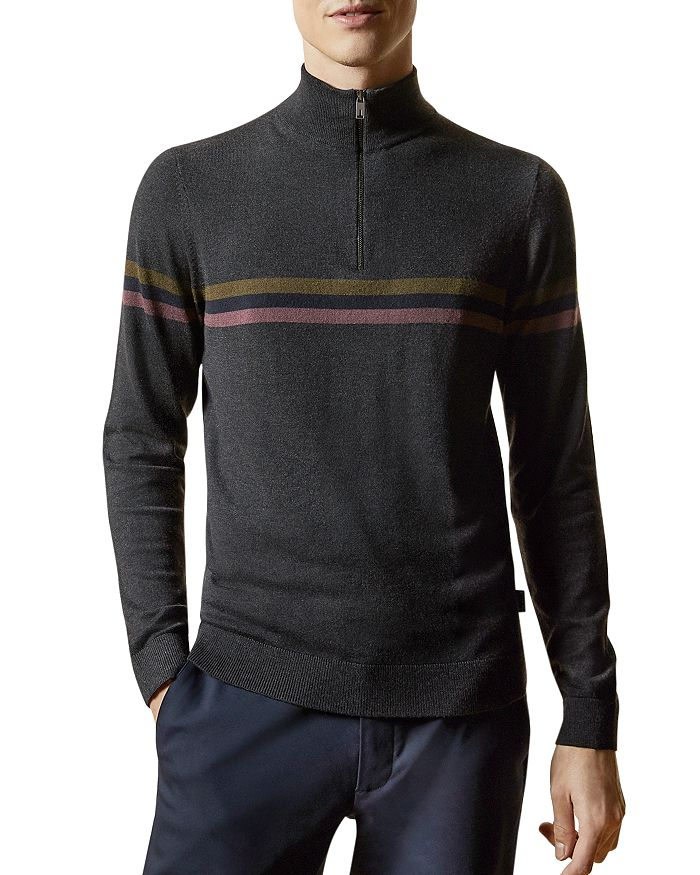 Ted Baker - Chest-Stripe Quarter-Zip Sweater