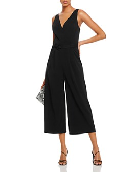 AQUA - Belted Cropped Wide-Leg Jumpsuit - 100% Exclusive