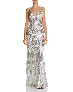 AQUA - Plunging Sequined Gown - 100% Exclusive