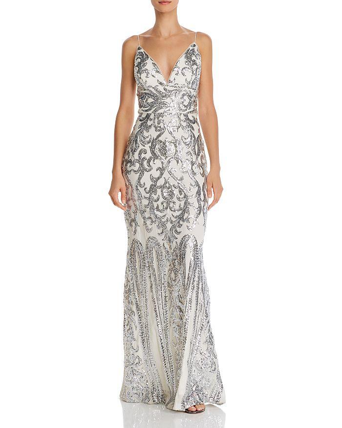 AQUA - Plunging Sequined Gown - 100% Exclusive
