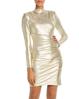 Alice and Olivia - Hilary Ruched Metallic Dress