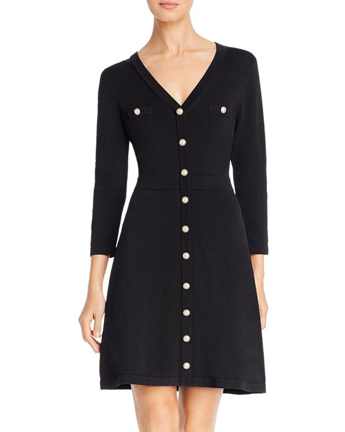 KARL LAGERFELD PARIS - Knit V-Neck Dress