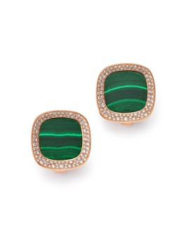 Roberto Coin - 18K Rose Gold Carnaby Street Malachite & Diamond Stud Earrings