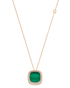 Roberto Coin - 18K Rose Gold Carnaby Street Malachite & Diamond Pendant Necklace, 28""