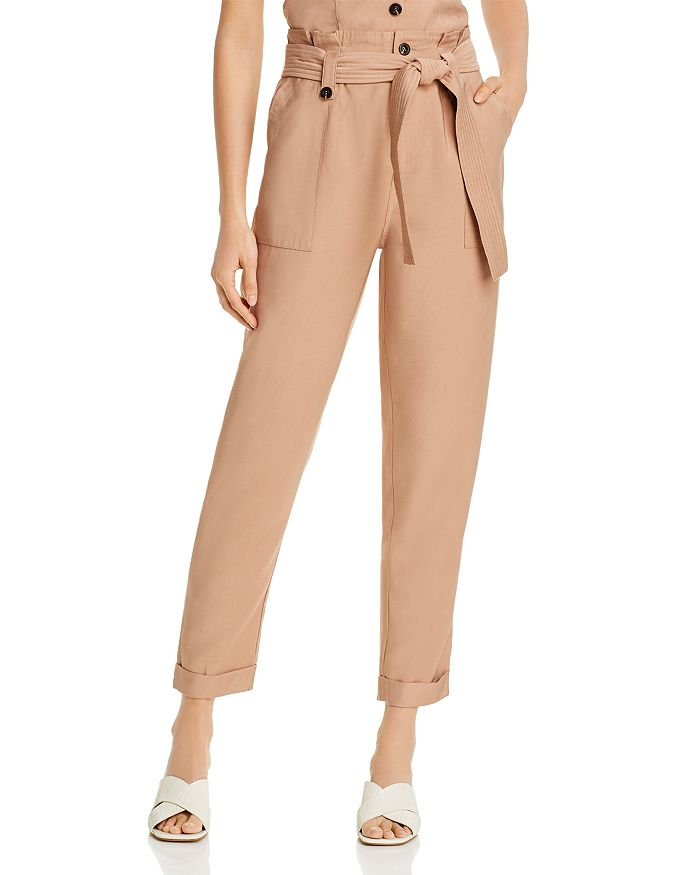 AQUA - Paperbag-Waist Straight-Leg Pants - 100% Exclusive