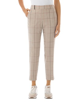Peserico - Checked High-Rise Virgin Wool-Blend Pants