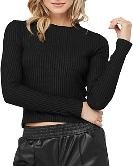 David Lerner - Keri Rib-Knit Cropped Top