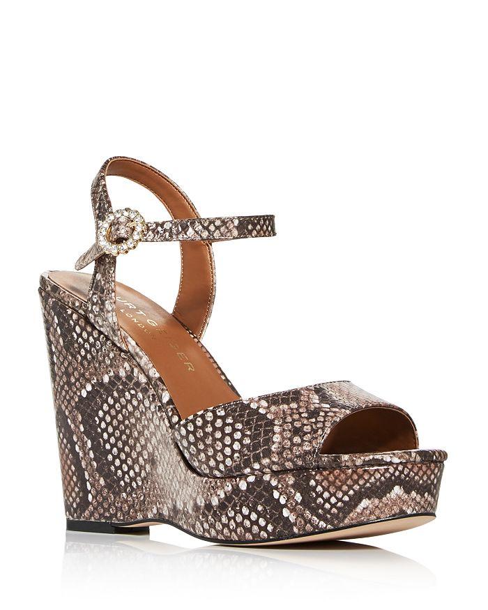 Kurt Geiger - Women's Archer Snake-Embossed Wedge Platform Sandals