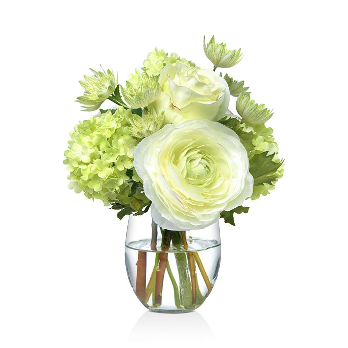 Diane James Home - Small Green and White Faux Floral Bouquet