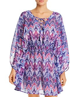 Tommy Bahama - Ikat Mirage Lace-Front Tunic Swim Cover-Up