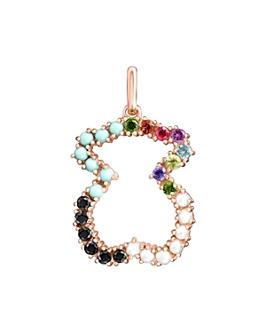 Tous 18K Rose Gold-Plated Sterling Silver Rainbow Gemstone Bear Pendant