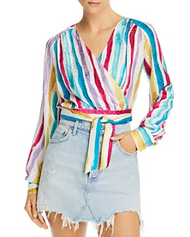 Art Dealer - Gwyneth Striped Wrap Cropped Top