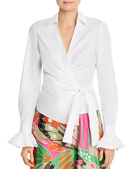 PAULE KA - Ruffled-Cuff Wrap Top