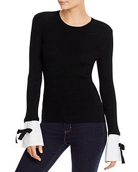PAULE KA - Ribbed Detachable-Cuff Wool Sweater