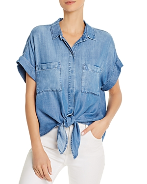 Tie-Front Chambray Shirt