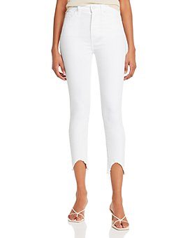 7 For All Mankind - Ankle Skinny Jeans with Wave Hem in Clean White