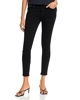 7 For All Mankind - High-Waist Ankle Skinny Jeans in Slim Illusion Luxe Black